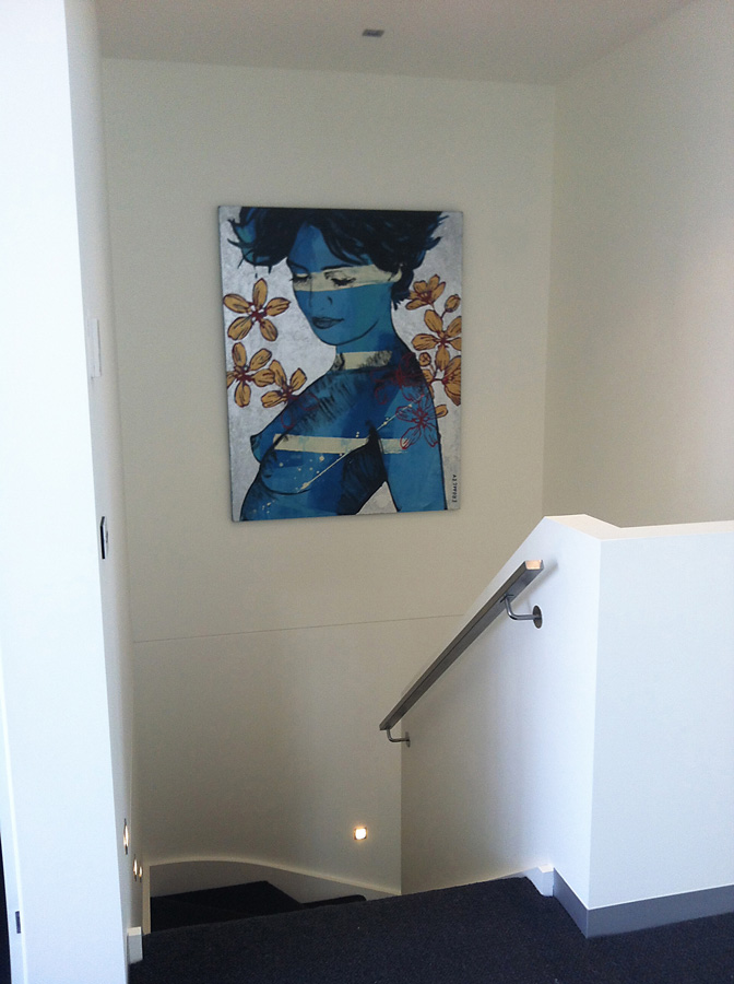 painting hung in stairwell, David Bromley
